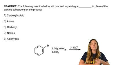 The following reaction below will proceed in yielding a _________ in place of ...