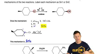 Each reaction shown below is a nucleophilic substitution reaction. Compare the...