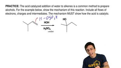 The acid catalyzed addition of water to alkenes is a common method to prepare ...