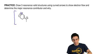 Draw 3 resonance valid structures using curved arrows to show electron flow an...
