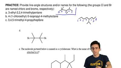 Provide line-angle structures and/or names for the following (the groups Cl an...