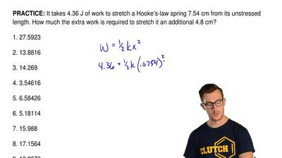 It takes 4.36 J of work to stretch a Hooke's-law spring 7.54 cm from its unstr...
