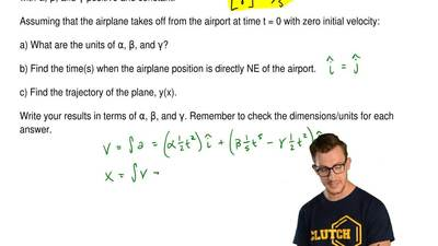 Using a reference frame with the origin at the take-off airport, the positive ...