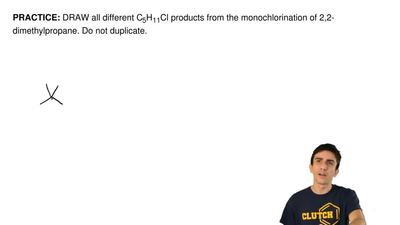 DRAW all different C5H11Cl products from the monochlorination of 2,2-dimethylp...