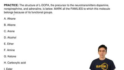 The structure of L-DOPA, the precursor to the neurotransmitters dopamine, nore...