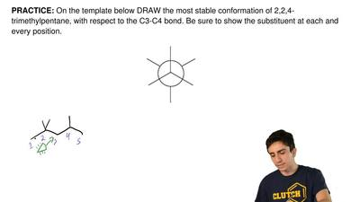 On the template below DRAW the most stable conformation of 2,2,4-trimethylpent...