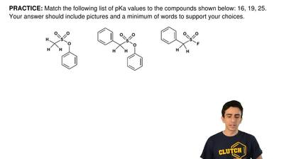 Match the following list of pKa values to the compounds shown below: 16, 19, 2...