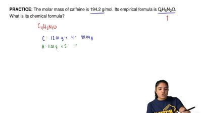 The molar mass of caffeine is 194.2 g/mol. Its empirical formula is C4H5N2O. W...