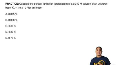 Calculate the percent ionization(protonation) of a 0.342 M solution of an unk...