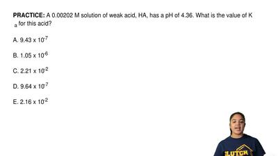A 0.00202 M solution of weak acid, HA, has a pH of 4.36. What is the value of ...