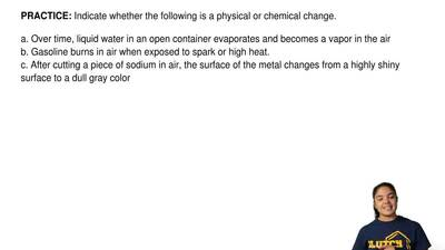 Indicate whether the following is a physical or chemical change.  a. Over time...