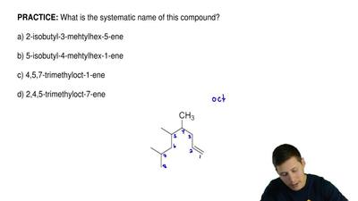 What is the systematic name of this compound?  a) 2-isobutyl-3-mehtylhex-5-ene...