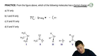 From the figure above, which of the following molecules has a formal charge of...