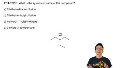 What is the systematic name of this compound?  a) Triethylmethane chloride  b)...