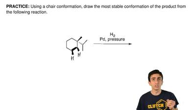 Using a chair conformation, draw the most stable conformation of the product f...