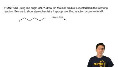 Using line-angle ONLY, draw the MAJOR product expected from the following reac...