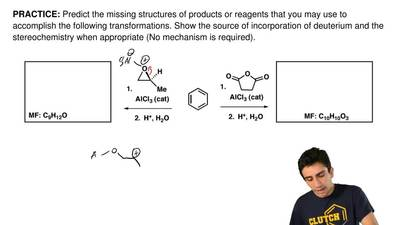 Predict the missing structures of products or reagents that you may use to acc...