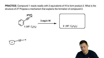 Compound 1 reacts readily with 2 equivalents of HI to form product 2. What is ...