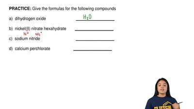 Give the formulas for the following compounds  a)  dihydrogen oxide           ...