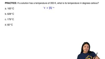 If a solution has a temperature of 355 K, what is its temperature in degrees c...