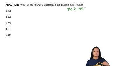 Which of the following elements is an alkaline earth metal?  a. Cs  b. Cu  c. ...