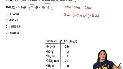 Given the data in the table below, what is ΔH°rxn ?  4NH3(g) + 5O2(g) → 4NO(g)...