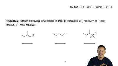 Rank the following alkyl halides in order of increasing SN2 reactivity. (1 – ...
