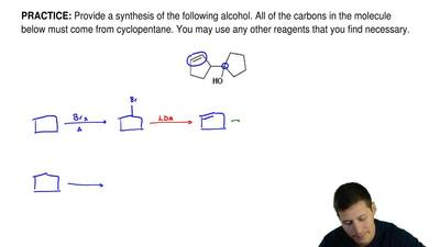 Provide a synthesis of the following alcohol. All of the carbons in the molecu...