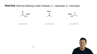 Rank the following in order of basicity. (1 – least basic, 3 – most basic) ...