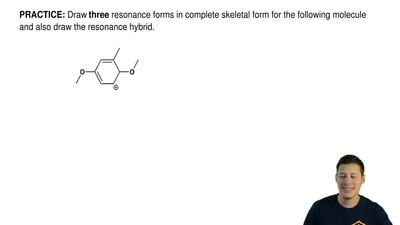 Draw three resonance forms in complete skeletal form for the following molecul...