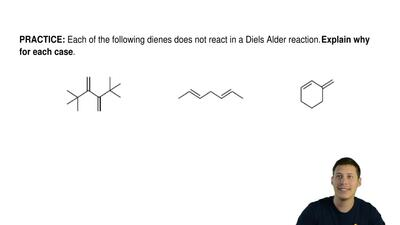 Each of the following dienes does not react in a Diels Alder reaction.  Explai...