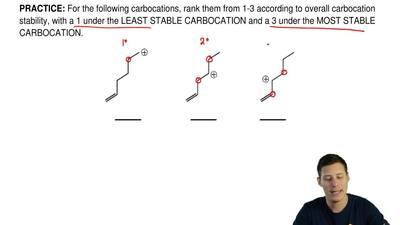 For the following carbocations, rank them from 1-3 according to overall carboc...