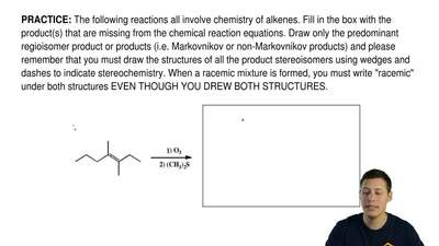 The following reactions all involve chemistry of alkenes. Fill in the box with...