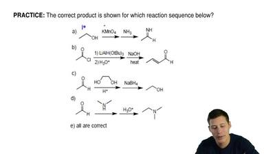 The correct product is shown for which reaction sequence below? ...