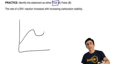 Identify the statement as either True (A) False (B)  The rate of a SN1 reactio...