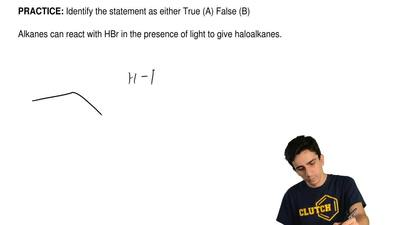 Identify the statement as either True (A) False (B)  Alkanes can react with HB...