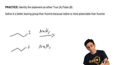 Identify the statement as either True (A) False (B)  Iodine is a better leavin...