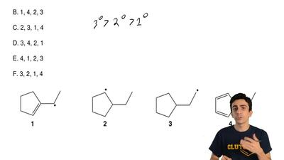 Rank the following carbon radicals according to their increasing stability. (l...