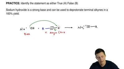 Identify the statement as either True (A) False (B)  Sodium hydroxide is a str...