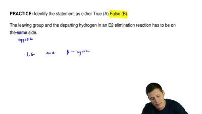 Identify the statement as either True (A) False (B)  The leaving group and the...