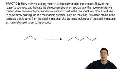 Show how the starting material can be converted to the product. Show all the r...