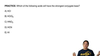 Which of the following acids will have the strongest conjugate base?  A) HCl  ...