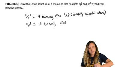 Draw the Lewis structure of a molecule that has both sp2 and sp3 hybridized ni...