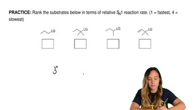 Rank the substrates below in terms of relative SN1 reaction rate. (1 = fastest...