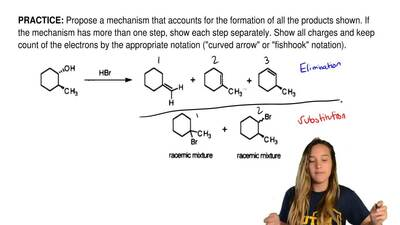 Propose a mechanism that accounts for the formation of all the products shown....