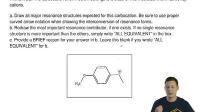 The carbocation shown below belongs to a class of intermediates known as benzy...