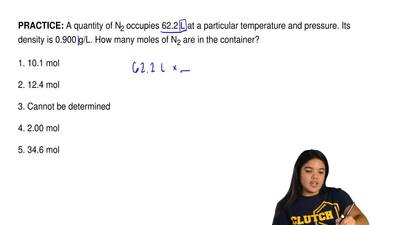 A quantity of N2 occupies 62.2 L at a particular temperature and pressure. Its...