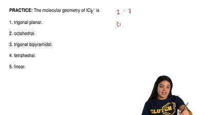 The molecular geometry of ICl2− is  1. trigonal planar.  2. octahedral.  3. tr...