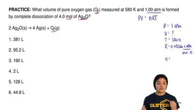 What volume of pure oxygen gas (O2) measured at 580 K and 1.00 atm is formed b...