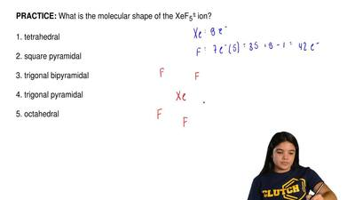 What is the molecular shape of the XeF 5+ ion?  1. tetrahedral  2. square pyra...